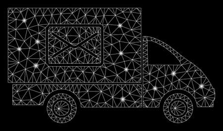 Flare mesh mail delivery car with glare effect. Abstract illuminated model of mail delivery car icon. Shiny wire frame triangular mesh mail delivery car. Vector abstraction on a black background.
