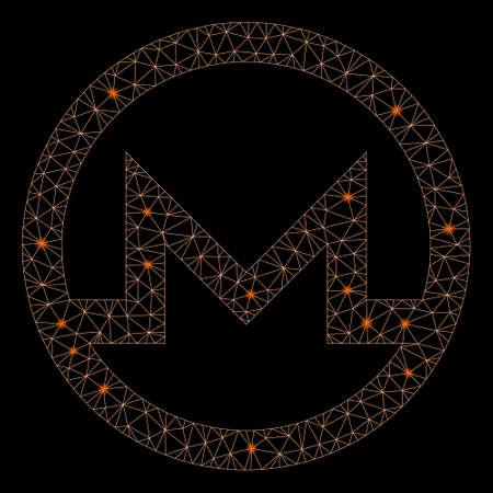 Glossy mesh Monero symbol with glare effect. Abstract illuminated model of Monero symbol icon. Shiny wire carcass polygonal mesh Monero symbol. Vector abstraction on a black background. Ilustracja