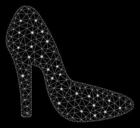 Glowing mesh lady shoe with glare effect. Abstract illuminated model of lady shoe icon. Shiny wire frame triangular network lady shoe. Vector abstraction on a black background.