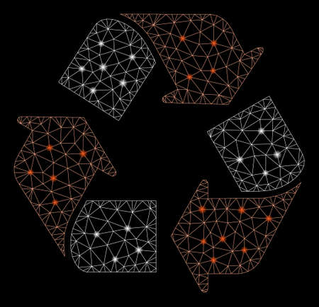 Glowing mesh recycle with sparkle effect. Abstract illuminated model of recycle icon. Shiny wire carcass triangular network recycle. Vector abstraction on a black background.