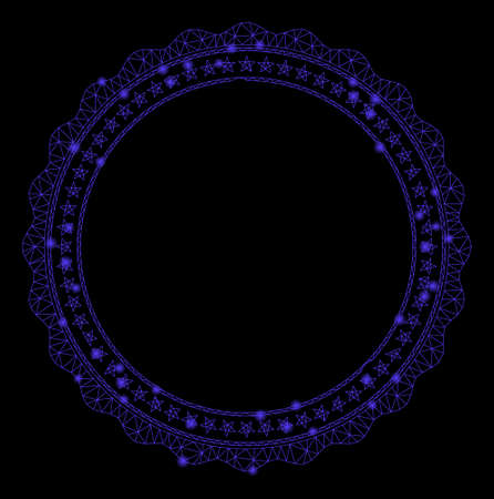 Glowing mesh rosette circular star frame with glare effect. Abstract illuminated model of rosette circular star frame icon. Shiny wire carcass triangular network rosette circular star frame.