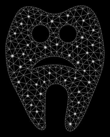 Glossy mesh sad tooth with lightspot effect. Abstract illuminated model of sad tooth icon. Shiny wire carcass polygonal network sad tooth. Vector abstraction on a black background.