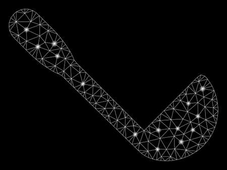 Flare mesh scoop with glitter effect. Abstract illuminated model of scoop icon. Shiny wire frame polygonal mesh scoop. Vector abstraction on a black background.