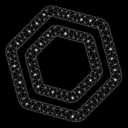 Flare mesh screw nut with lightspot effect. Abstract illuminated model of screw nut icon. Shiny wire frame polygonal mesh screw nut. Vector abstraction on a black background. Illustration