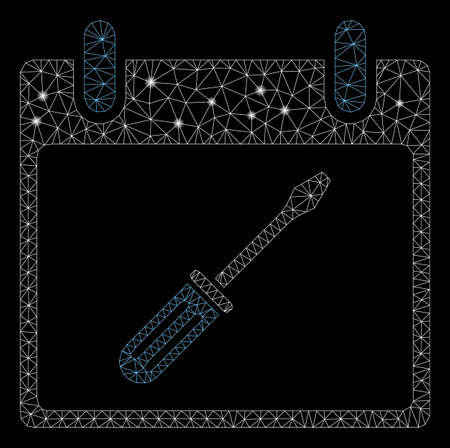 Bright mesh screwdriver tuning calendar day with glare effect. Abstract illuminated model of screwdriver tuning calendar day icon. Shiny wire frame triangular mesh screwdriver tuning calendar day. Illustration