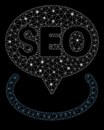 Glossy mesh seo geotargeting with glitter effect. Abstract illuminated model of seo geotargeting icon. Shiny wire carcass polygonal mesh seo geotargeting. Vector abstraction on a black background.