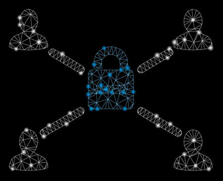 Glowing mesh secured lock relations with lightspot effect. Abstract illuminated model of secured lock relations icon. Shiny wire carcass triangular mesh secured lock relations. Çizim