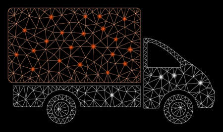 Glowing mesh shipment car with glitter effect. Abstract illuminated model of shipment car icon. Shiny wire carcass polygonal mesh shipment car. Vector abstraction on a black background.