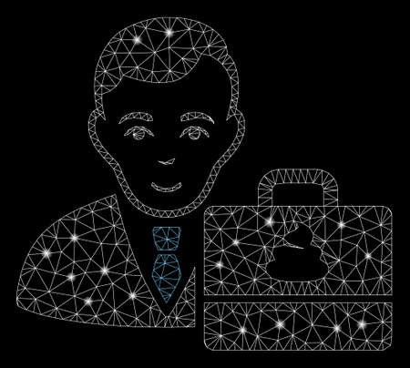 Glowing mesh shit accounter with glitter effect. Abstract illuminated model of shit accounter icon. Shiny wire carcass polygonal network shit accounter. Vector abstraction on a black background. Ilustracja