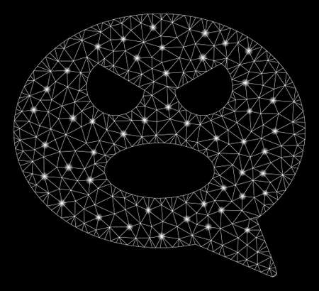 Glowing mesh shout face message with glitter effect. Abstract illuminated model of shout face message icon. Shiny wire frame polygonal mesh shout face message.
