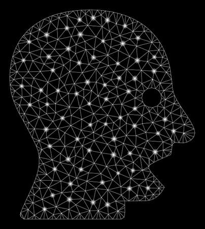 Glowing mesh shouting head with sparkle effect. Abstract illuminated model of shouting head icon. Shiny wire carcass triangular mesh shouting head. Vector abstraction on a black background.