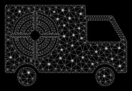Glowing mesh shooting gallery truck with sparkle effect. Abstract illuminated model of shooting gallery truck icon. Shiny wire carcass polygonal mesh shooting gallery truck. Illustration