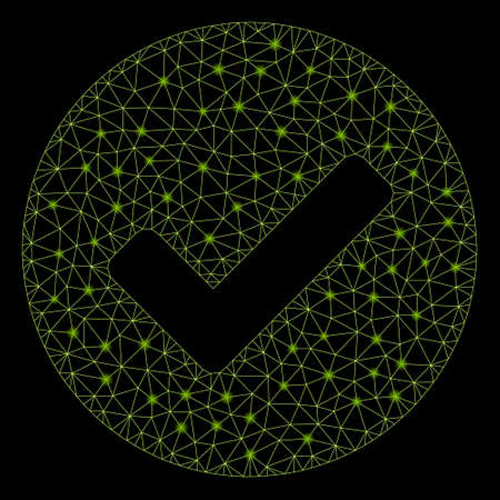 Glossy mesh valid with sparkle effect. Abstract illuminated model of valid icon. Shiny wire frame polygonal network valid. Vector abstraction on a black background.