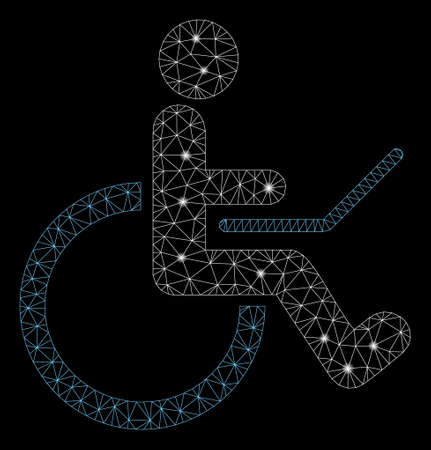 Bright mesh wheelchair with lightspot effect. Abstract illuminated model of wheelchair icon. Shiny wire frame polygonal mesh wheelchair. Vector abstraction on a black background.