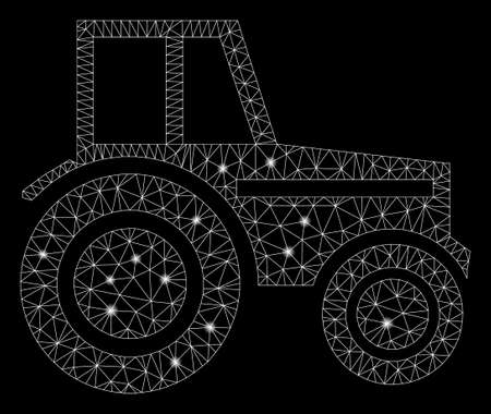 Glossy mesh wheeled tractor with lightspot effect. Abstract illuminated model of wheeled tractor icon. Shiny wire frame triangular mesh wheeled tractor. Vector abstraction on a black background.
