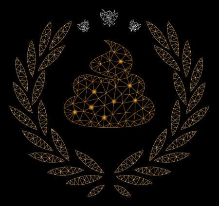 Glowing mesh shit laurel emblem with glow effect. Abstract illuminated model of shit laurel emblem icon. Shiny wire frame polygonal network shit laurel emblem.