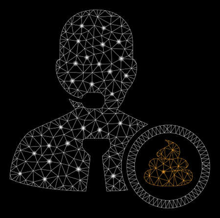 Glowing mesh shit operator with glare effect. Abstract illuminated model of shit operator icon. Shiny wire carcass polygonal mesh shit operator. Vector abstraction on a black background.