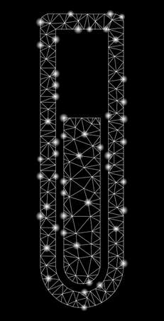 Glossy mesh test tube with sparkle effect. Abstract illuminated model of test tube icon. Shiny wire frame triangular mesh test tube. Vector abstraction on a black background.