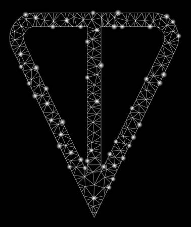Bright mesh ton currency with sparkle effect. Abstract illuminated model of ton currency icon. Shiny wire carcass polygonal mesh ton currency. Vector abstraction on a black background.