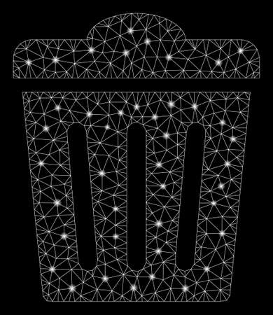 Glossy mesh trash can with glitter effect. Abstract illuminated model of trash can icon. Shiny wire carcass polygonal mesh trash can. Vector abstraction on a black background.