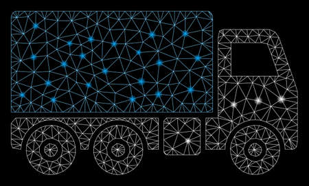 Glowing mesh truck with glow effect. Abstract illuminated model of truck icon. Shiny wire frame polygonal mesh truck. Vector abstraction on a black background.