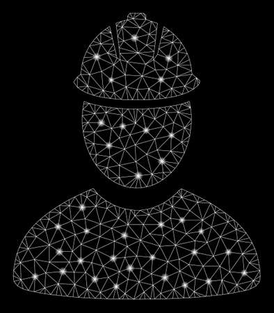 Flare mesh worker with glitter effect. Abstract illuminated model of worker icon. Shiny wire frame triangular network worker. Vector abstraction on a black background.