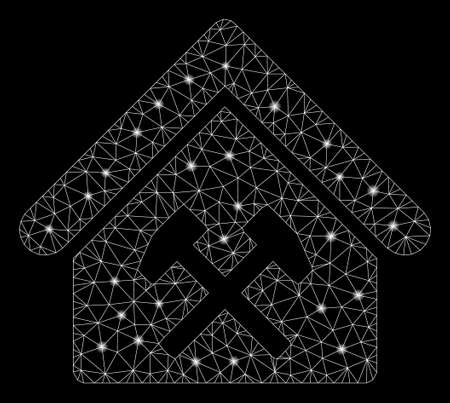 Bright mesh workshop with glitter effect. Abstract illuminated model of workshop icon. Shiny wire frame polygonal mesh workshop. Vector abstraction on a black background. Illustration