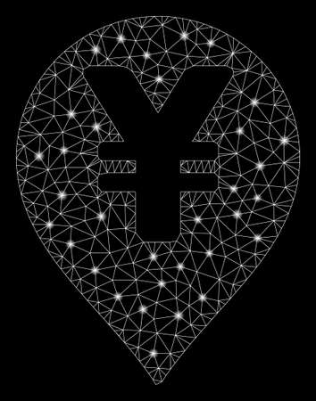 Glowing mesh yen map marker with glow effect. Abstract illuminated model of yen map marker icon. Shiny wire frame polygonal network yen map marker. Vector abstraction on a black background.