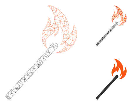Mesh match fire model with triangle mosaic icon. Wire carcass polygonal mesh of match fire. Vector mosaic of triangle elements in various sizes, and color shades. Abstract flat mesh match fire,