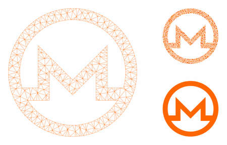 Mesh Monero symbol model with triangle mosaic icon. Wire carcass polygonal mesh of Monero symbol. Vector mosaic of triangle parts in various sizes, and color hues. Abstract 2d mesh Monero symbol,
