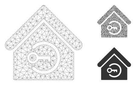 Mesh home login model with triangle mosaic icon. Wire frame triangular mesh of home login. Vector mosaic of triangle parts in variable sizes, and color tints. Abstract 2d mesh home login,