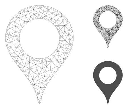 Mesh map marker model with triangle mosaic icon. Wire frame triangular mesh of map marker. Vector mosaic of triangle parts in various sizes, and color tones. Abstract flat mesh map marker,