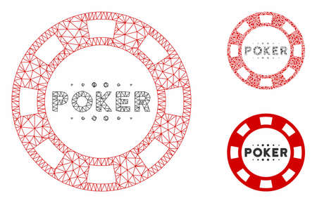 Mesh poker casino chip model with triangle mosaic icon. Wire frame polygonal network of poker casino chip. Vector mosaic of triangle parts in various sizes, and color hues.
