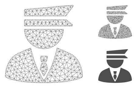 Mesh police officer model with triangle mosaic icon. Wire frame polygonal mesh of police officer. Vector mosaic of triangle parts in variable sizes, and color tints. Abstract 2d mesh police officer,