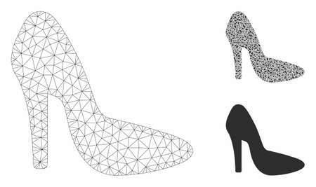 Mesh lady shoe model with triangle mosaic icon. Wire frame triangular mesh of lady shoe. Vector collage of triangle elements in variable sizes, and color tinges. Abstract 2d mesh lady shoe,