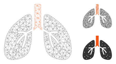Mesh lungs model with triangle mosaic icon. Wire carcass triangular mesh of lungs. Vector mosaic of triangle elements in variable sizes, and color hues. Abstract flat mesh lungs,