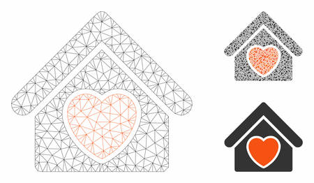 Mesh hospice model with triangle mosaic icon. Wire carcass triangular mesh of hospice. Vector mosaic of triangle elements in different sizes, and color tones. Abstract 2d mesh hospice,