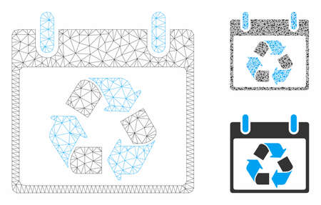 Mesh recycle calendar day model with triangle mosaic icon. Wire carcass triangular mesh of recycle calendar day. Vector collage of triangle parts in various sizes, and color tinges.