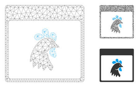 Mesh rooster head calendar page model with triangle mosaic icon. Wire frame polygonal mesh of rooster head calendar page. Vector mosaic of triangle parts in different sizes, and color tints. Ilustração