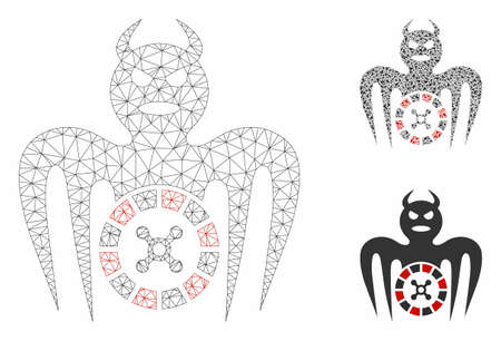 Mesh roulette spectre devil model with triangle mosaic icon. Wire frame polygonal network of roulette spectre devil. Vector mosaic of triangle elements in various sizes, and color tinges.