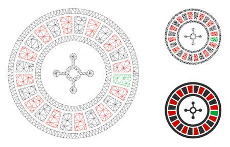 Mesh roulette model with triangle mosaic icon. Wire frame polygonal mesh of roulette. Vector mosaic of triangle elements in various sizes, and color tinges. Abstract flat mesh roulette, 일러스트