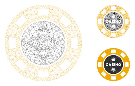 Mesh royal casino chip model with triangle mosaic icon. Wire frame polygonal mesh of royal casino chip. Vector composition of triangle elements in various sizes, and color tones.