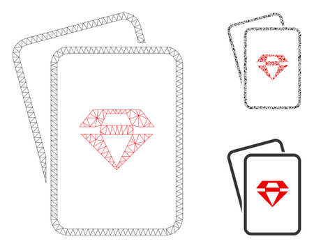 Mesh ruby gambling cards model with triangle mosaic icon. Wire carcass polygonal mesh of ruby gambling cards. Vector mosaic of triangle parts in different sizes, and color hues.