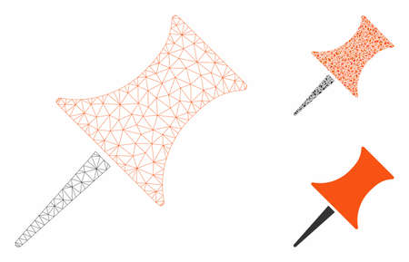 Mesh pin model with triangle mosaic icon. Wire frame triangular mesh of pin. Vector mosaic of triangle elements in different sizes, and color tinges. Abstract 2d mesh pin,