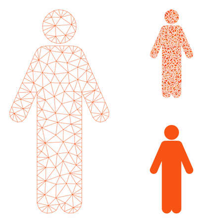 Mesh man model with triangle mosaic icon. Wire frame triangular mesh of man. Vector mosaic of triangle parts in variable sizes, and color tinges. Abstract 2d mesh man, created from triangular grid.