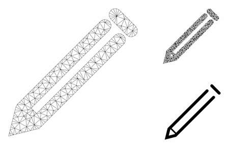 Mesh pencil model with triangle mosaic icon. Wire carcass triangular mesh of pencil. Vector mosaic of triangle elements in variable sizes, and color shades. Abstract flat mesh pencil,