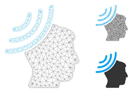 Mesh radio reception mind model with triangle mosaic icon. Wire frame polygonal mesh of radio reception mind. Vector mosaic of triangle parts in various sizes, and color tinges.