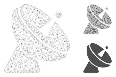 Mesh radio telescope model with triangle mosaic icon. Wire carcass polygonal mesh of radio telescope. Vector mosaic of triangle parts in different sizes, and color shades. Vektorové ilustrace