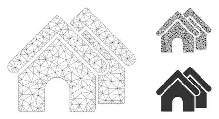 Mesh real estate model with triangle mosaic icon. Wire carcass triangular mesh of real estate. Vector mosaic of triangle parts in various sizes, and color shades. Abstract 2d mesh real estate, Ilustracja