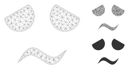 Mesh sad worried face model with triangle mosaic icon. Wire carcass triangular mesh of sad worried face. Vector mosaic of triangle parts in different sizes, and color tinges.